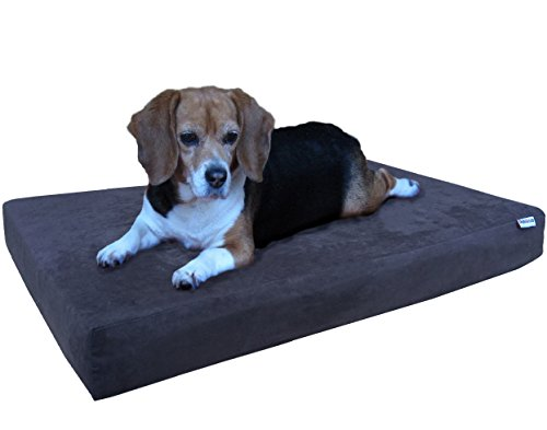 Dogbed4less Orthopedic Gel Cooling Memory Foam Dog Bed with Waterproof Liner and External Washable Suede Cover for Small to Medium Pet