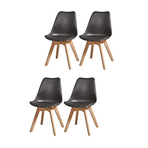 BJORN Lot de 4 chaises de salle a manger L 49 x P 56 cm Simili noir Scandinave