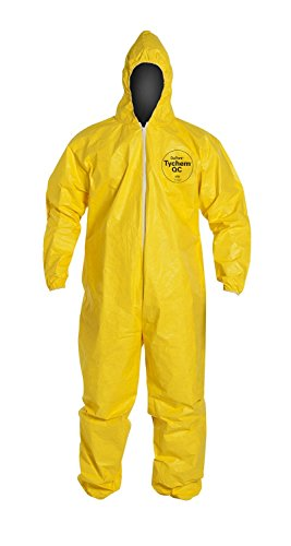 DuPont QC127 Tychem QC Coverall, Attached Hood, Elastic Wrists and Ankles, Large