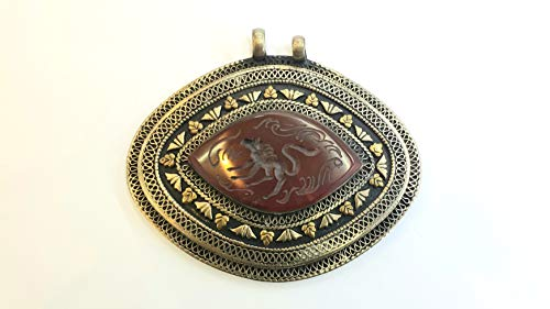 Afghan Agate Inlaid Horse Engraved Intaglio Pendant Alpaca Silver Oval Shape Ethnic Tribal Gemstone Turkmen Jewelry 9cm×8cm Collection