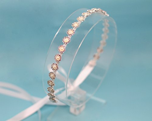 Petite Belle Fleur Silver Tone Pearl Ribbon Tie Back Wedding (Satin Ribbon Willow)