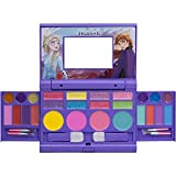 Disney Frozen - Townley Girl Cosmetic Compact Set with Mirror 22 lip glosses, 4 Body Shines, 6 Brushes Colorful Portable Foldable Washable Make Up Beauty Kit Box Set for Girls Kids Toddler
