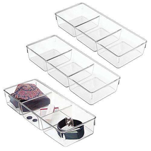 mDesign Rectangular Plastic Divided Dresser Drawer and Closet Storage Organizer Bin for Lingerie, Bras, Socks, Leggings, Clothes, Purses, Scarves - 3 Sections, 12 Long - 3 Pack - Clear