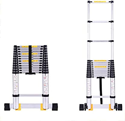 HLL Escalera, escalera de extensión de 2,5 M/Inicio, La escalera plegable es fácil de almacenar, de peso ligero de aleación de aluminio espiga escalera portátil Ingeniería: Amazon.es: Bricolaje y herramientas