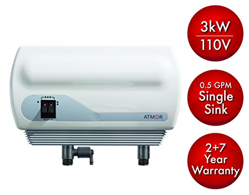 Atmor 3kw/110v SINGLE SINK 0.5 GPM Point-Of-Use Tankless Electric Instant Water Heater Including Pressure Relief Device and 0.5 GMP Sink Aerator, AT-900-03 by Atmor