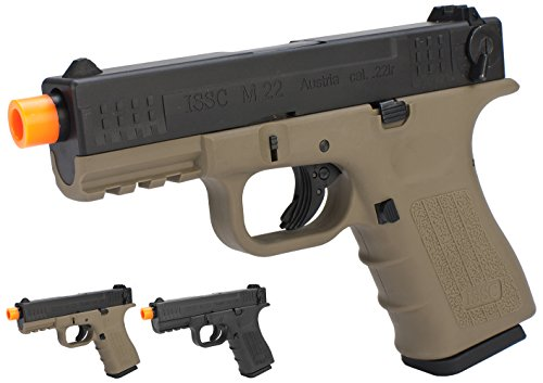 Evike - We-Tech ISSC Licensed M-22 Airsoft GBB Gas Blowback Pistol - Desert (Green/Red/Propane Gas Mag) - (45329) (Rifles Gas Blowback)