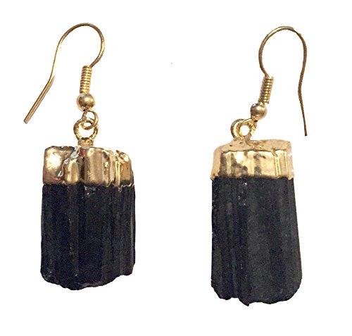 Genuine Rough Cut Black Tourmaline Stone Drop Earrings - (Gold Dipped Top Drop Earrings) (Tourmaline Jewelry Black And Gold)