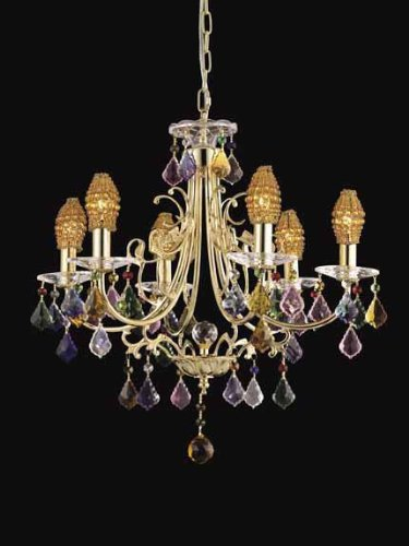 Dale Tiffany GH80251 21-Inch by 18-Inch Multicolored Yorkshire Chandelier with Gold Finish Dale Tiffany 6 Light Chandelier