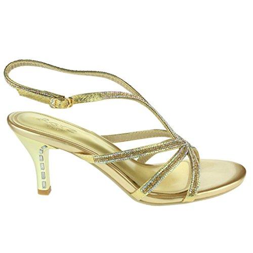 Mujer Señoras Acento de los Rhinestones Correas Tacones altos Noche Fiesta Boda Paseo Nupcial Diamante Sandalias Zapatos Tamaño Oro