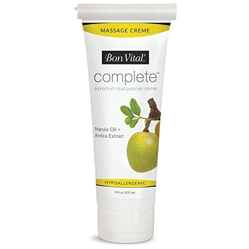 Bon Vital Complete Massage Creme, Premium Dual Purpose Cream for Hypoallergenic Professional Massages, Non Greasy Unscented Moisturizer Made with Marula, Olive, Avocado, Jojoba Oil, 8 oz. Tube