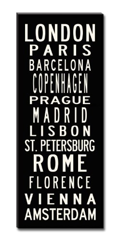 Subway Sign Wall Art- Europe-Gallery-Wrapped Canvas-24x60