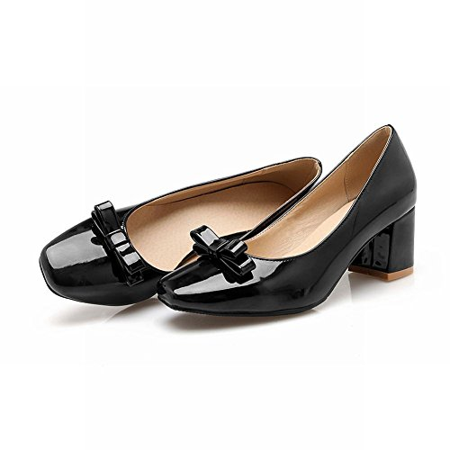 Carolbar Femmes Orteils En Cuir Verni À Bout Carré Talons Moyens Chaussures Chaussures Robe Noire