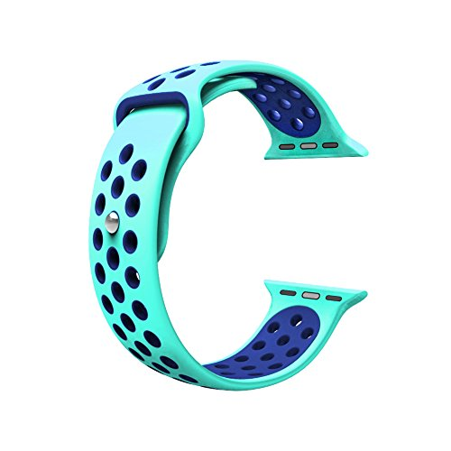 Photo - For Apple Watch Band, Wearlizer Soft Silicone Sport Replacement Strap for both Series 1 and Series 2 - 38mm Green and Blue