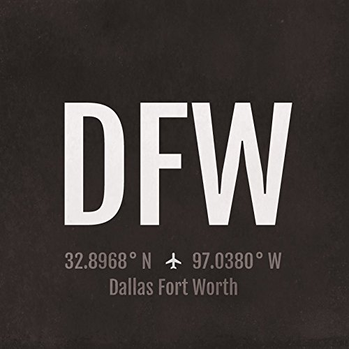 Dallas Fort Worth Airport Code Print - DFW Aviation Art - Texas Airplane Nursery Poster, Wall Art, Decor, Travel Gifts, Aviation - Map Dallas Airport