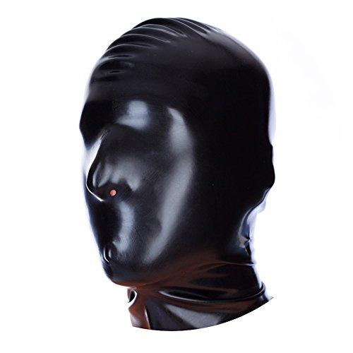 EXLATEX Latex Rubber Fetish Accessories Hood Mash with Nostril Holes (Medium, Black) (Womens Disco Sensation Dress)