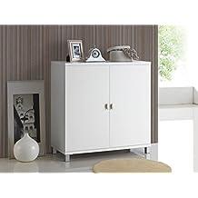 Baxton Studio Marcy Wood Entryway Handbag/School Bag Storage Sideboard Cabinet, White, 15.6LX35.1WX35.88H