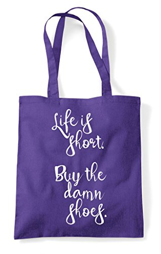 Life Shoes Is Short Purple Bag Damn Shopper Statement Buy The Tote rwrp6xqXd