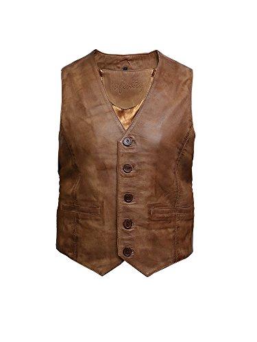 para de Brandslock Cuero Chaleco Hombre Vintage Broncearse Nappa rXXwO1qx5