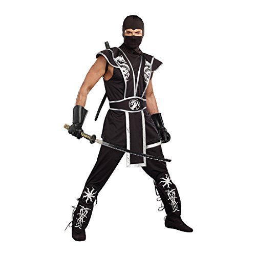 [Dreamgirl Men's Ninja Warrior Costume, Black, Medium] (Ninja Costume Man)