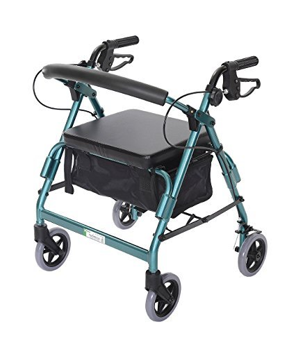 Essential Medical Supply Featherlight Demi Four Wheel Walker with Loop Hand Brakes and Pouch/Basket in Teal by Essential Medical Supply