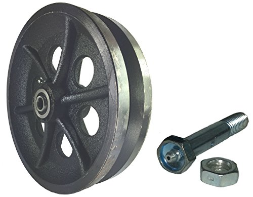Sliding Barn Door Cast Iron Wheel Kit 8'' X 2'' with 1/2'' Smooth & Quiet Ball Bearings by Mapp Caster