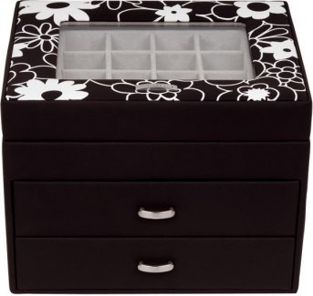 Windrose Charming Schmuckkoffer Charmbox mit Schubladen 1 flowers red -