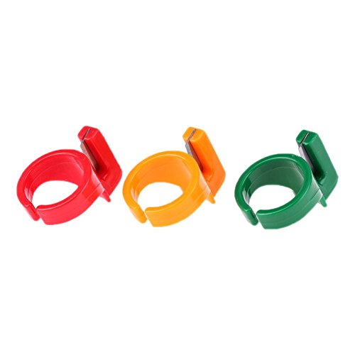 3pcs Plastic Sewing Thimble Ring with Blade Finger Thimble Thread Cutter ()