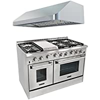 Thor Kitchen 48 6 Burner Gas Range with Double Oven+48'' Gange Hood