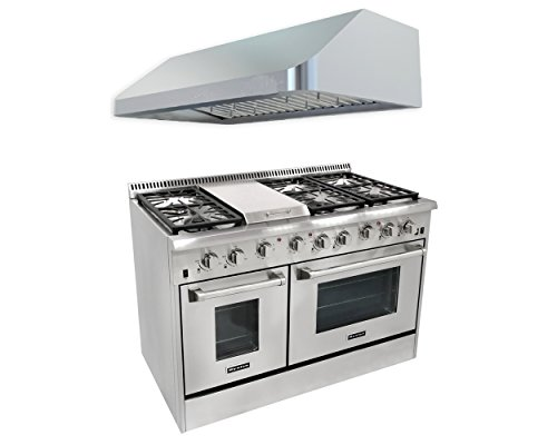 Thor Kitchen 48'' 6 Burner Gas Range with Double Oven+48'' Gange Hood