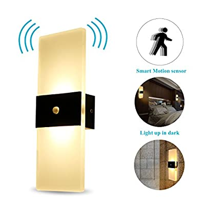 Modern Acrylic Led Wall Lamp Sconce Decorative Light Fixture Motion Sensor 6w for Hallway, Pathway, Staircase, Bedroom, Living Room, Balcony, Corridor, Bar, Coffee House, Warm White