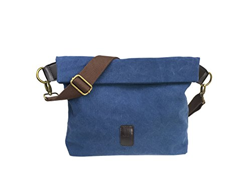 Canvas Shoulder Bag Classic Cross body Sling Bag Messenger Bag for Daily Using Etc Blue by lxctory