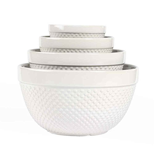Hobnail 4 Piece, Mixing Bowl Set (Mixing Bowl Set Stoneware)