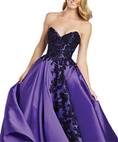 Royaldress Lila Damen Spitze Applikation herzausschnitt Abendkleider Promkleider Abiballkleider Prinzess A-linie Rock Lang