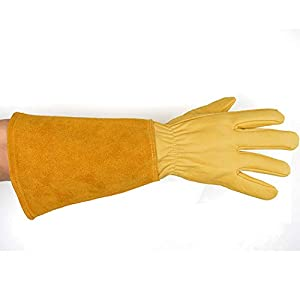 CCBETTER Rose Pruning Gloves with Extra Long Cowhide Sleeves for Men and Women, Breathable Goatskin Leather Thorn Proof Gardening Gauntlet Gloves, Best Garden Gifts & Tools for Gardener and Farmer