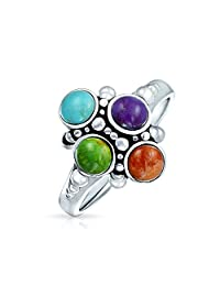 Bling Jewelry Multi Stone Bali Style Sterling Silver Cluster Ring