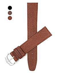 18mm, Slim, Tan Mat Finish, Genuine Leather Watch Band Strap, Comes in Black, Brown or Tan