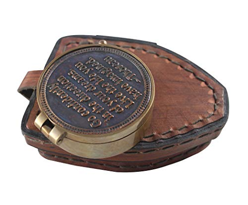 Vintage Maritime Unique Design Magnetic Navigation Nautical Instrument with Leather Case Antique Brass Quote Compass by