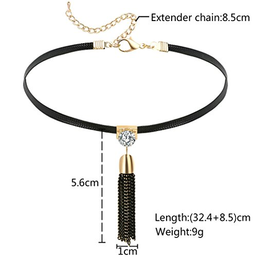 Gnzoe Gothique Crystal Gland Pendentif Noir Or Rope Cuir Étendue Choker Collier pour Femme