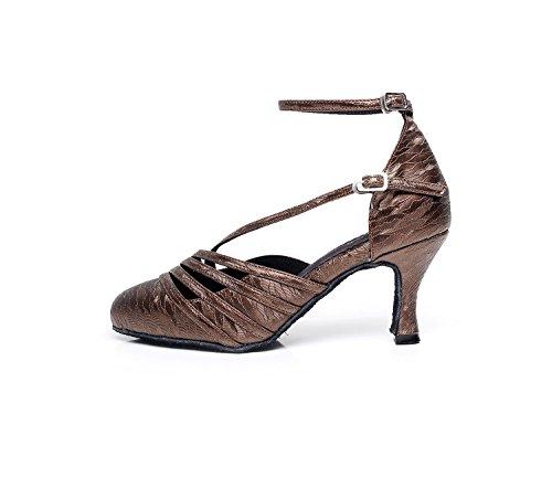 Minishion Tqj7060 Femmes Talon Évasé Satin Tango Danse De Salon Latine Pompes Chaussures Café