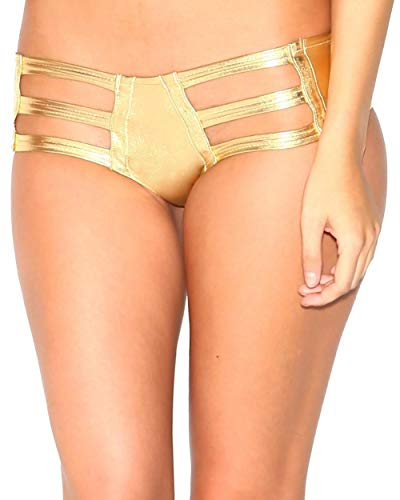 iHeartRaves Metallic Gold Micro Cut Out Booty Shorts Bottoms - Panties Metallic