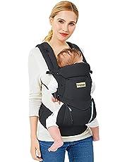Ergonomisk Bärsele Baby Babybärare AndningsbarJusterbar i flera lägen Bärselar för Nyfödda och Småbarn (3,5–20 kg) (Svart)