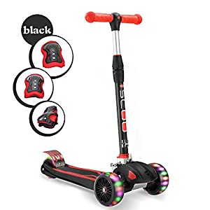 "Kids Kick Scooter Childern Outdoor Toy/LED Flicker 2""widthX3 PU Flashing 3 Big Wheels/Pedal with Stainless Steel/Folding 4 Adjustable Height T Bar/Safety Gravity Steering /4-13 Years Old Black"