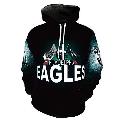 Men's Hooded Long Sleeve 3D Digital Print Philadelphia Eagles Football Team Pullover Hoodies (XL,NAVYBLUE)