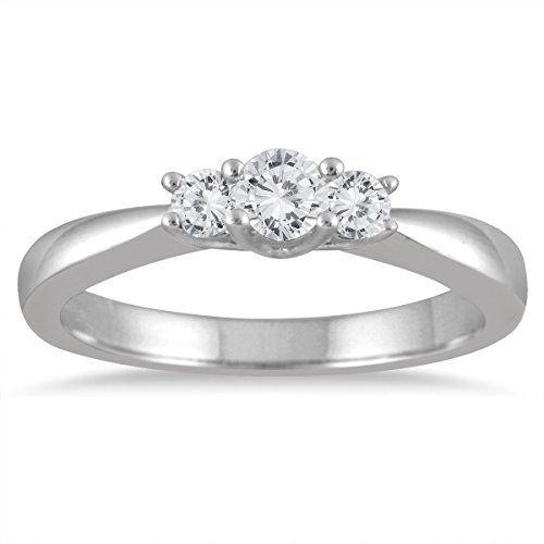 1/3 Ct Tw Ring - 1/3 Carat TW Three Stone Diamond Ring in 10K White Gold