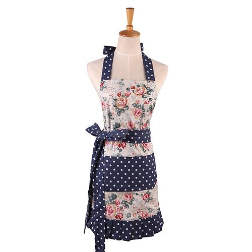 Blue and White Floral Pattern Women's Apron, Apron, Double Layer 100% Cotton Kitchen Apron Cooking Baking Garden Chef Apron Bib with Pocket Great Gift for Housewife ()
