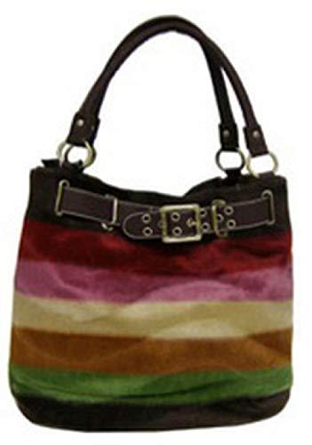 Designer Inspired Faux Fur Striped Hobo Purse (Brown) ()