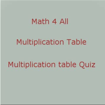 Amazon Math 4 All Multiplication Table Appstore For Android