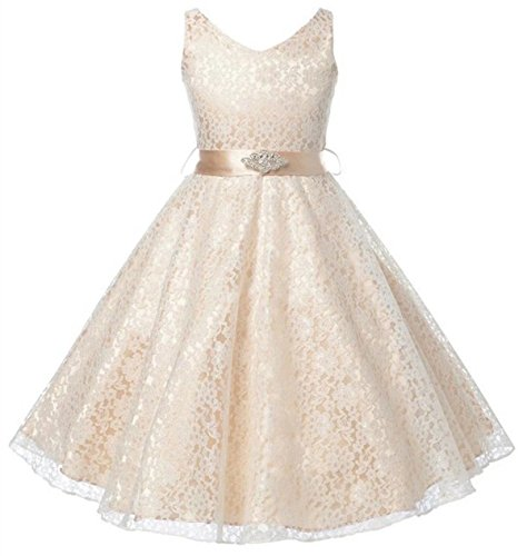 Betusline Sleeveless Formal Party Wedding Flower Girl Lace Dresses for Toddlers and Little Girls, Champagne, -