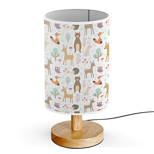 Queen Patterns Wood Base Decoration Desk Table Bedside Light Lamp (Forest Cute Animals)