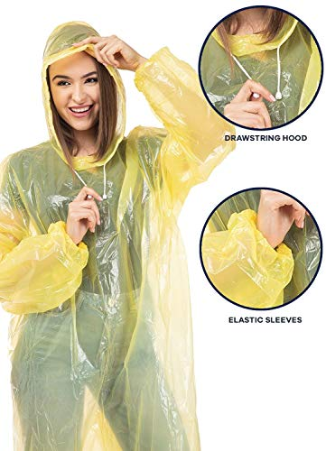 Clinch Star Rain Poncho with Drawstring Hood and Elastic Sleeves for Adults 100% Waterproof- 8 Family Pack